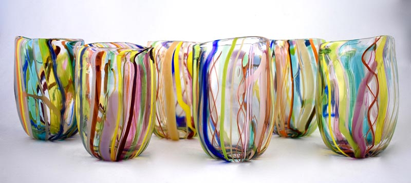 Bay Blown Glass rainbow glasses