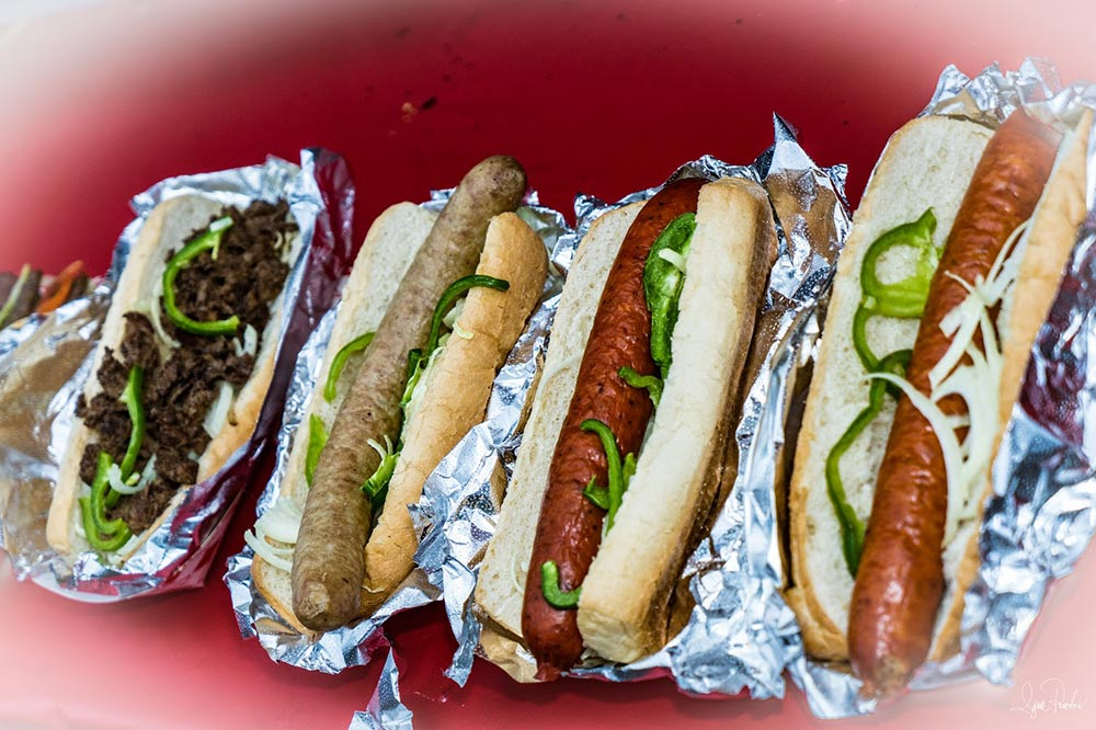 hot dogs, sausages and a variety of fabulous street food