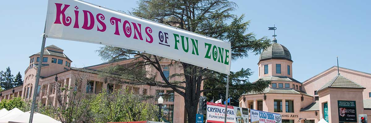 kids tons of fun zone at the A La Carte & Art festival in downtown Mountain View, California